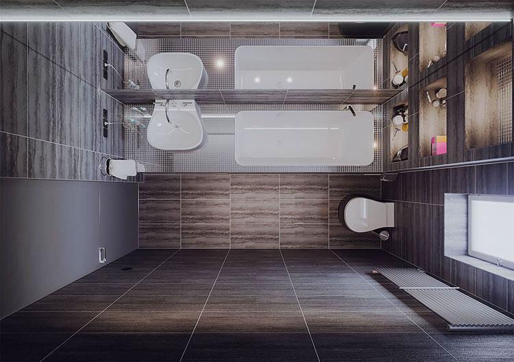 Progetto per bagno piccolo moderno n.32