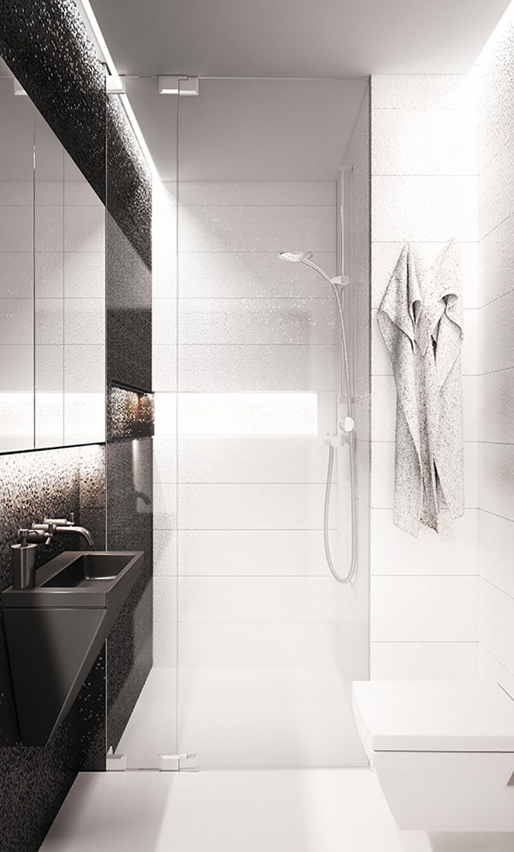 Bagno piccolo moderno ecco 25 progetti di design - Progetto piccolo bagno ...