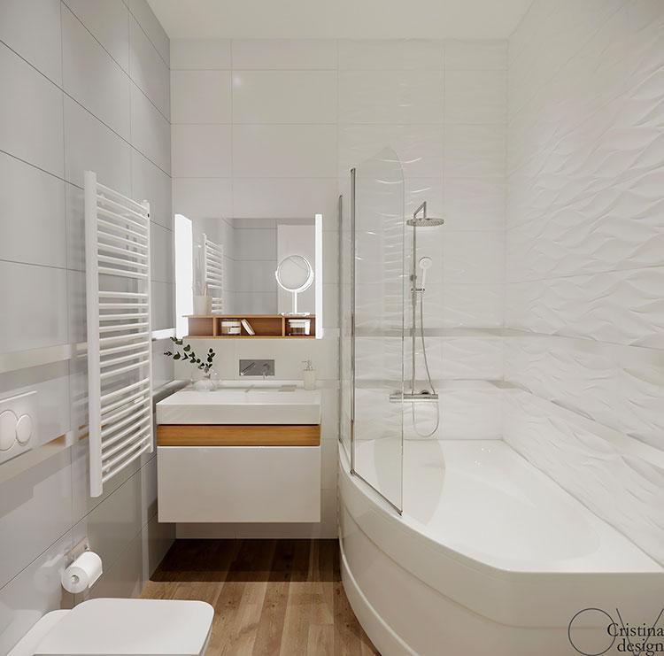 Progetto di bagno piccolo con vasca n.01