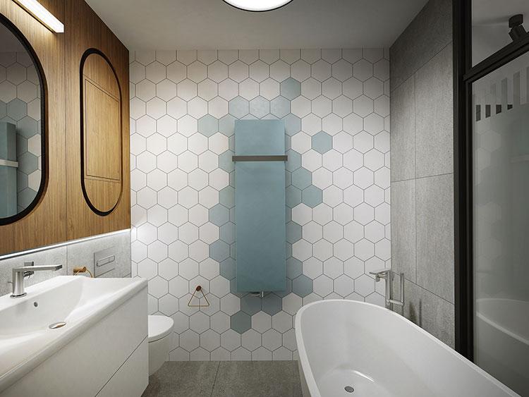 Progetto di bagno piccolo con vasca n.03