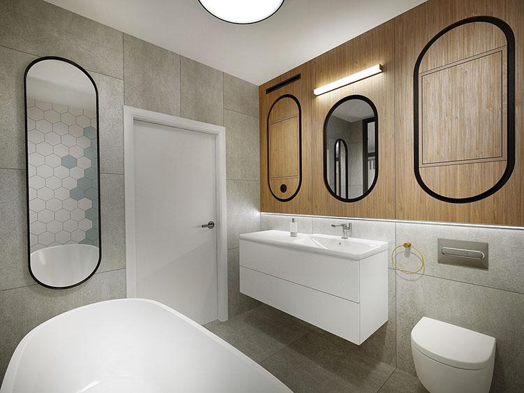 Progetto di bagno piccolo con vasca n.04