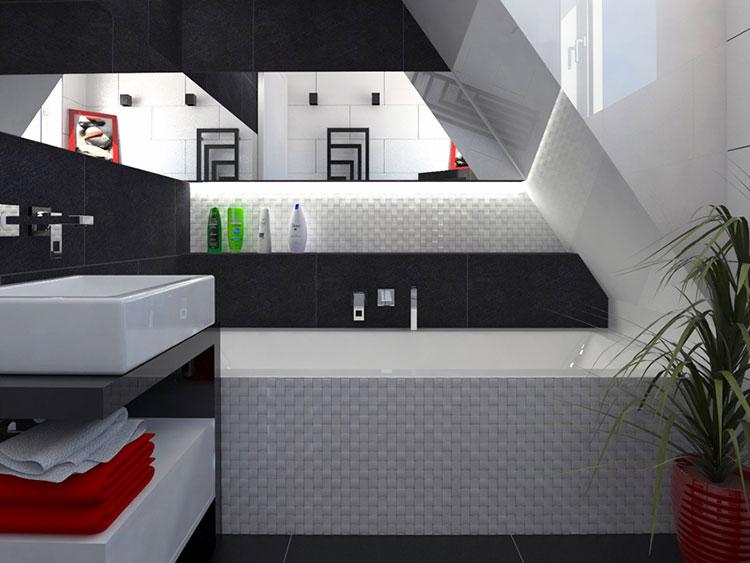 Progetto di bagno piccolo con vasca n.05