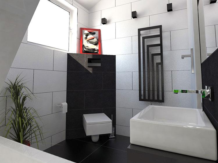 Progetto di bagno piccolo con vasca n.06