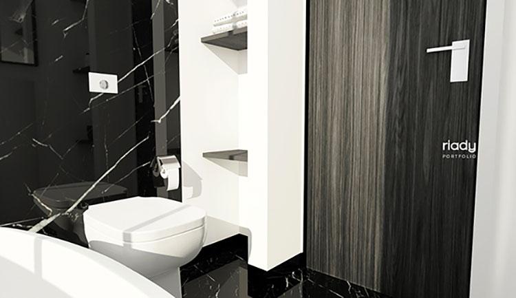 Progetto di bagno piccolo con vasca n.08