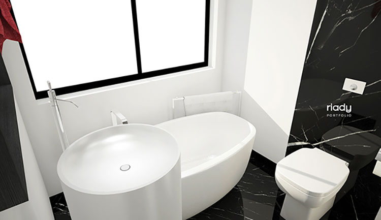 Progetto di bagno piccolo con vasca n.09