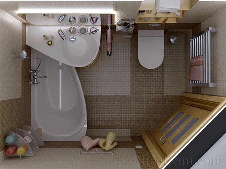 Progetto di bagno piccolo con vasca n.10