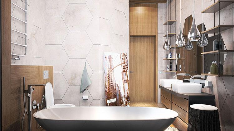 Progetto di bagno piccolo con vasca n.20