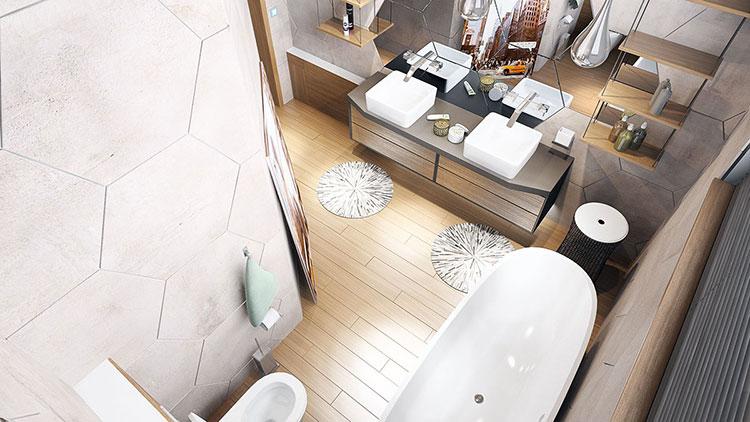 Progetto di bagno piccolo con vasca n.21