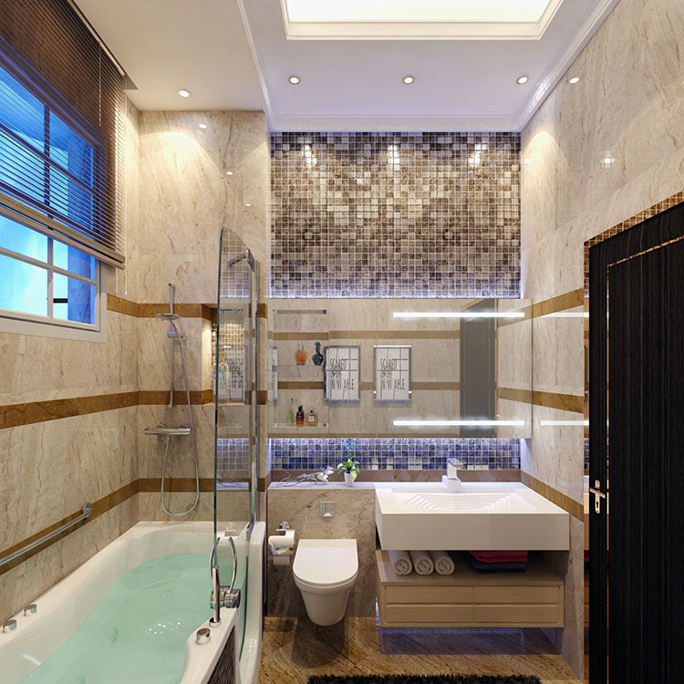 Progetto di bagno piccolo con vasca n.22
