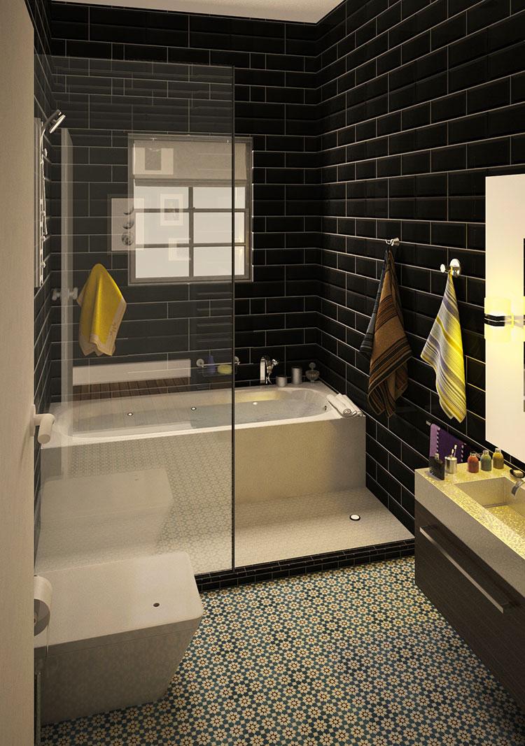 Progetto di bagno piccolo con vasca n.24