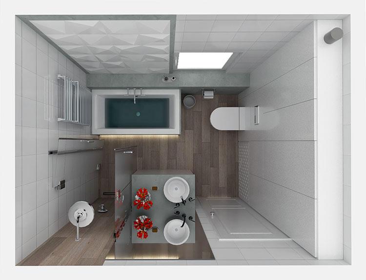 Progetto di bagno piccolo con vasca n.25