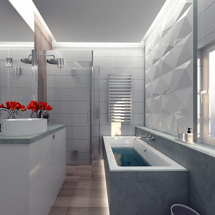 Progetto di bagno piccolo con vasca n.26
