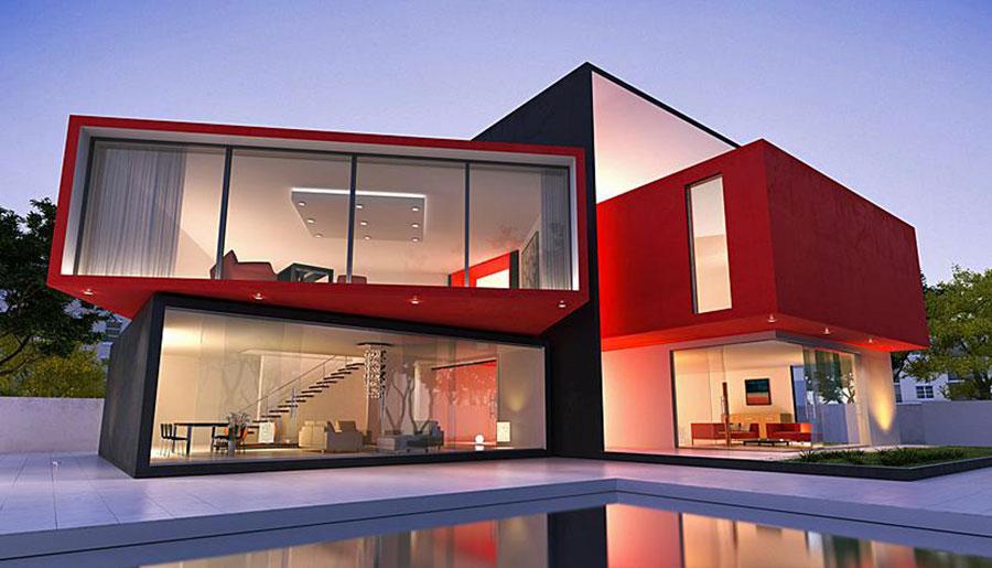 Idee per i colori dele pareti esterne di una casa moderna n.01