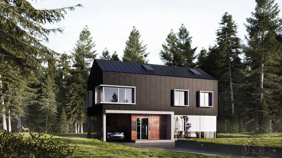 Idee per i colori dele pareti esterne di una casa moderna n.05
