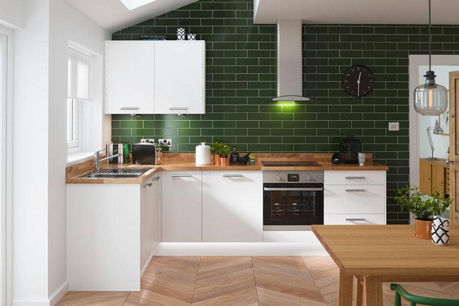 Pareti verdi per cucine moderne 01