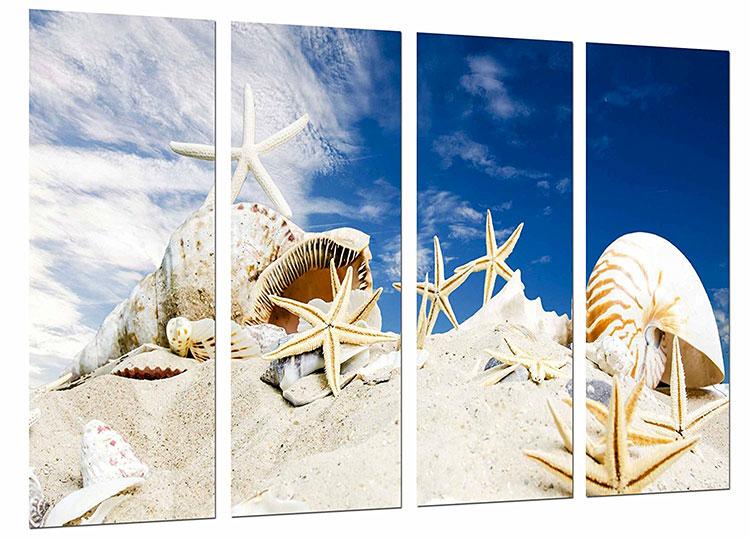 Modello di quadra per casa mare con conchiglie e stelle marine n.01