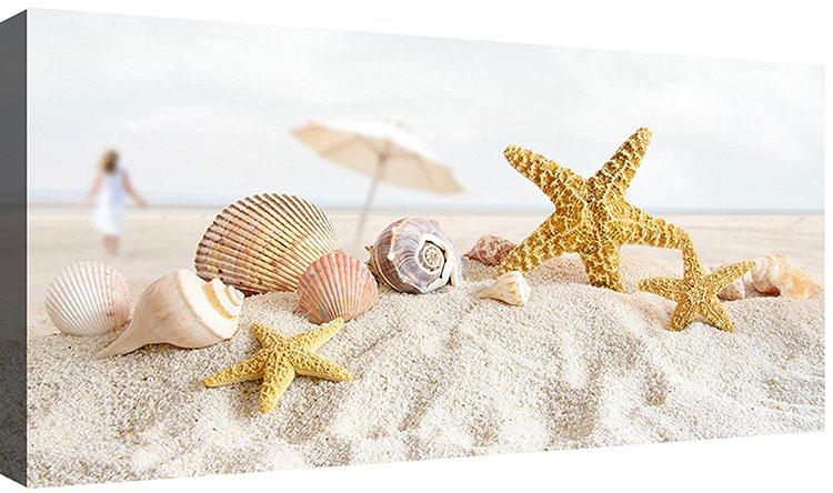 Modello di quadra per casa mare con conchiglie e stelle marine n.07