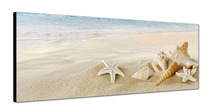 Modello di quadra per casa mare con conchiglie e stelle marine n.10