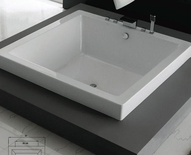 Modello di vasca da bagno quadrata da incasso n.08