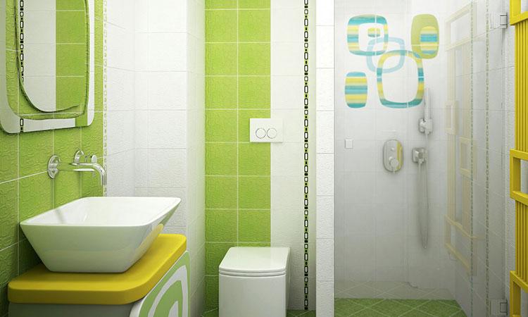 Abbinamento di bianco e verde per le pareti del bagno n.01