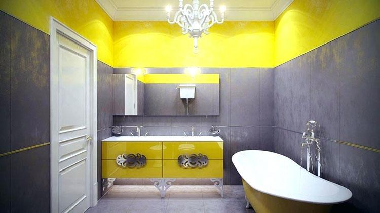 Abbinamento di giallo e grigio per le pareti del bagno n.01