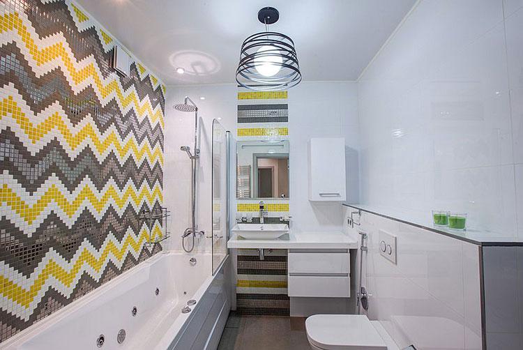 Abbinamento di giallo e grigio per le pareti del bagno n.02