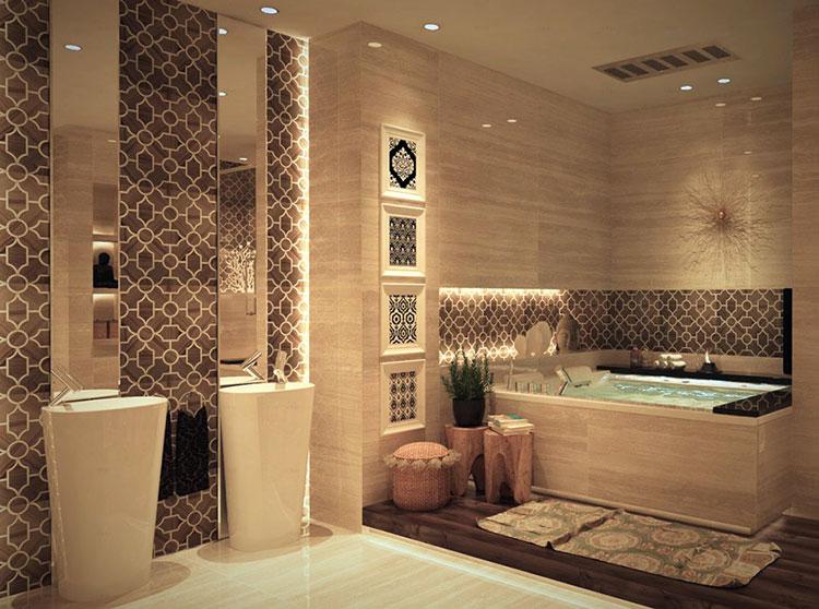 Abbinamento di marrone e beige per le pareti del bagno n.01