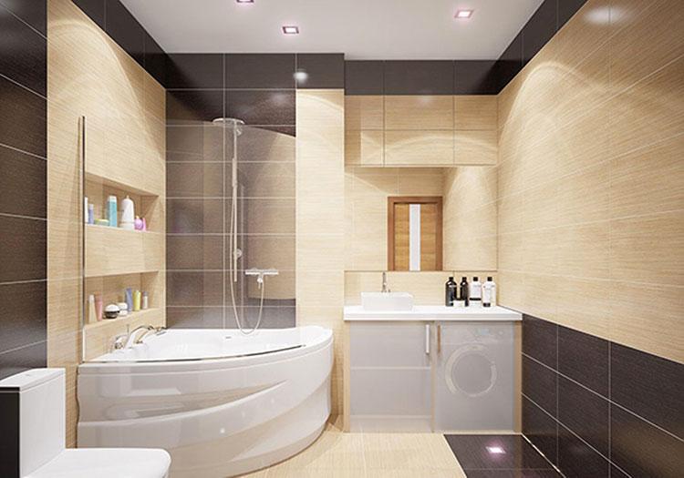 Abbinamento di marrone e beige per le pareti del bagno n.02