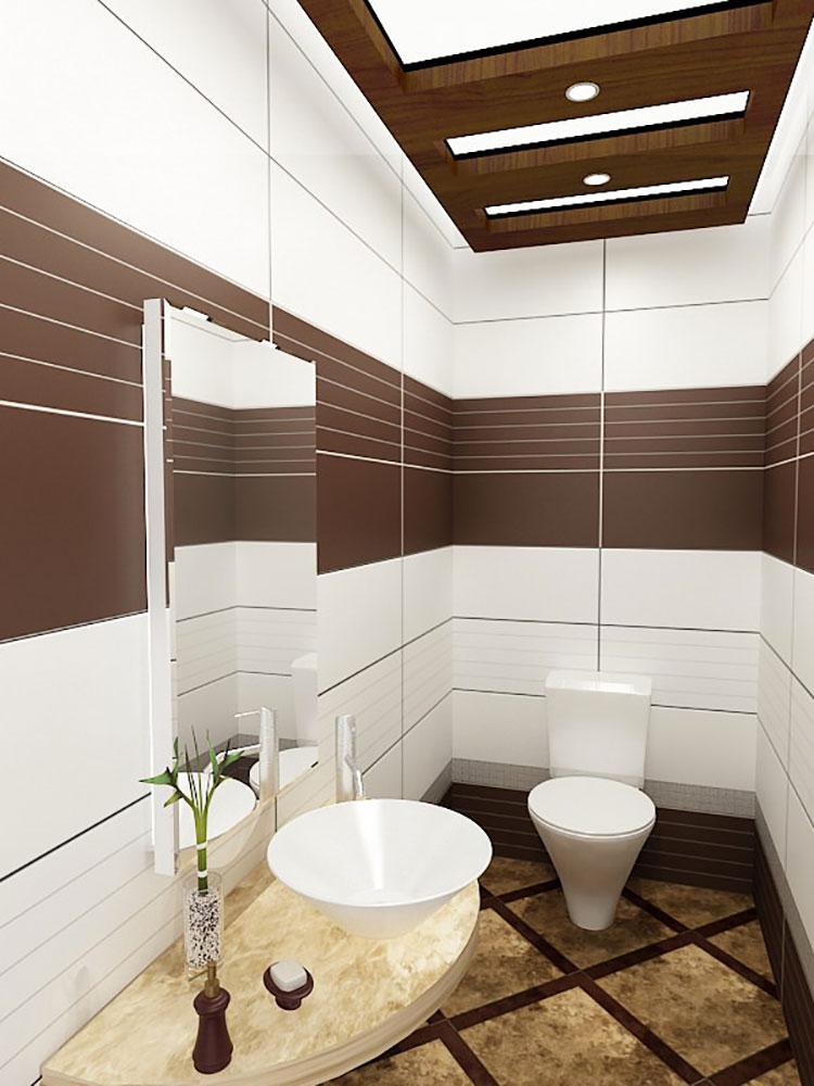 Abbinamento di marrone e bianco per le pareti del bagno n.01