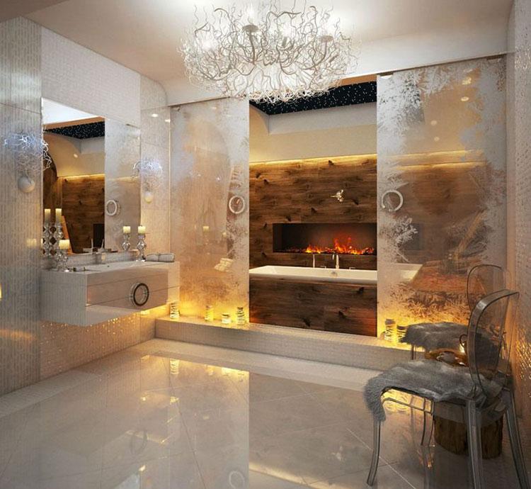Abbinamento di marrone e bianco per le pareti del bagno n.02
