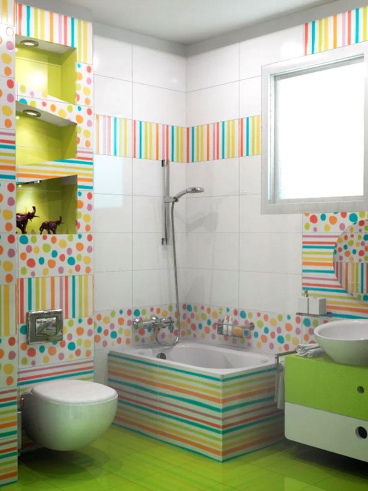 Abbinamenti multicolore per le pareti del bagno n.01
