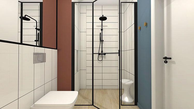 Progetto per bagno piccolo con doccia n.12