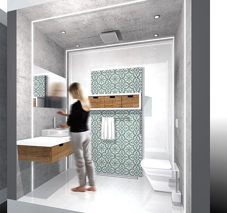 Progetto per bagno piccolo con doccia n.31