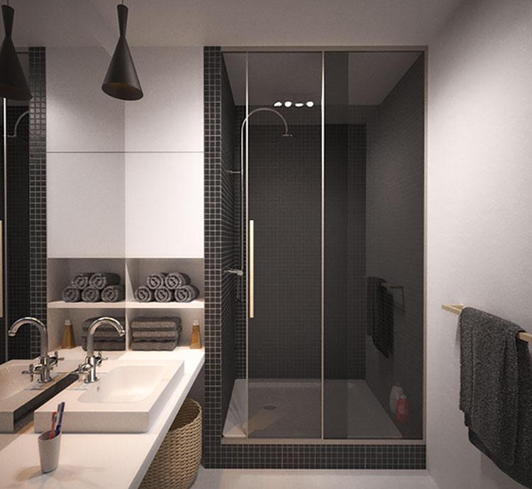 Progetto per bagno piccolo con doccia n.42