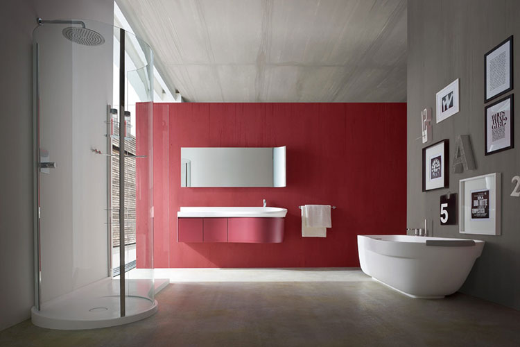 Abbinamento di rosso e grigio per le pareti del bagno n.02