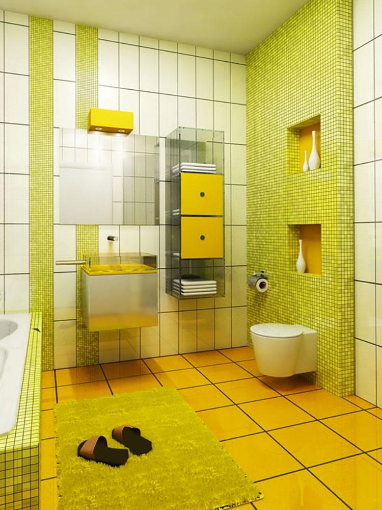 Abbinamento di verde e giallo per le pareti del bagno n.01