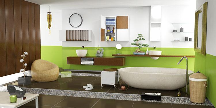 Abbinamento di verde e marrone per le pareti del bagno n.01