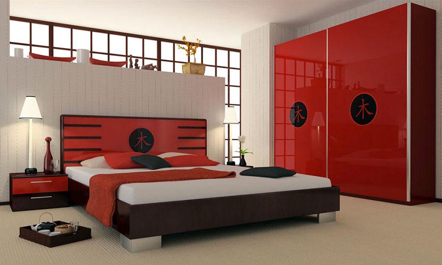 Idee per arredare e decorare una camera da letto con il rosso n.08