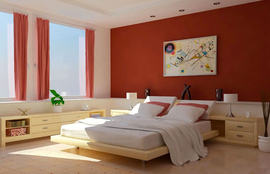 Idee per arredare e decorare una camera da letto con il rosso n.09
