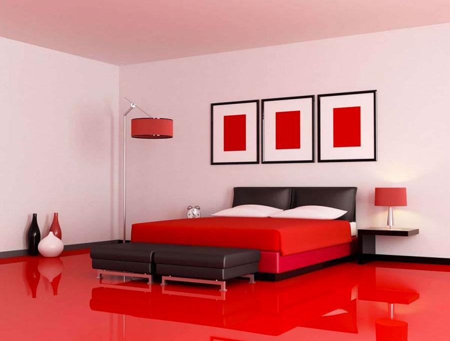 Colori bianco e rosso per la camera da letto 1