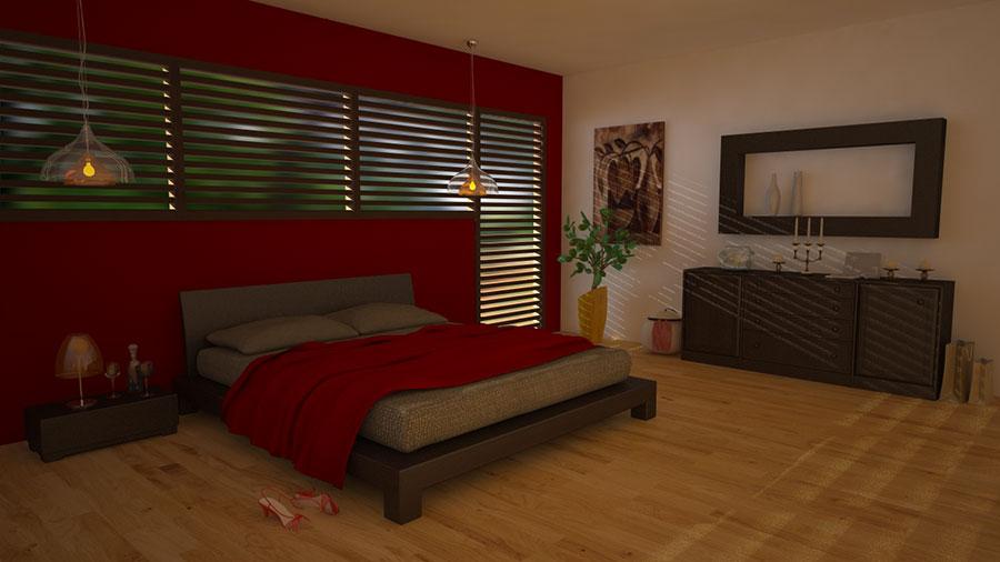 Idee per arredare e decorare una camera da letto con il rosso n.12