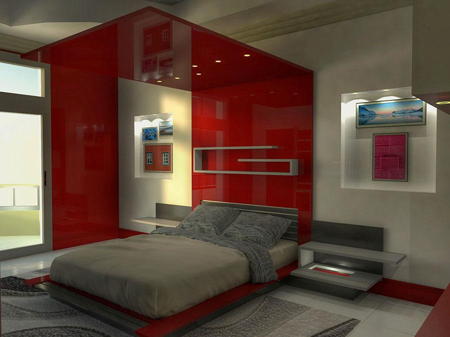 Idee per arredare e decorare una camera da letto con il rosso n.15