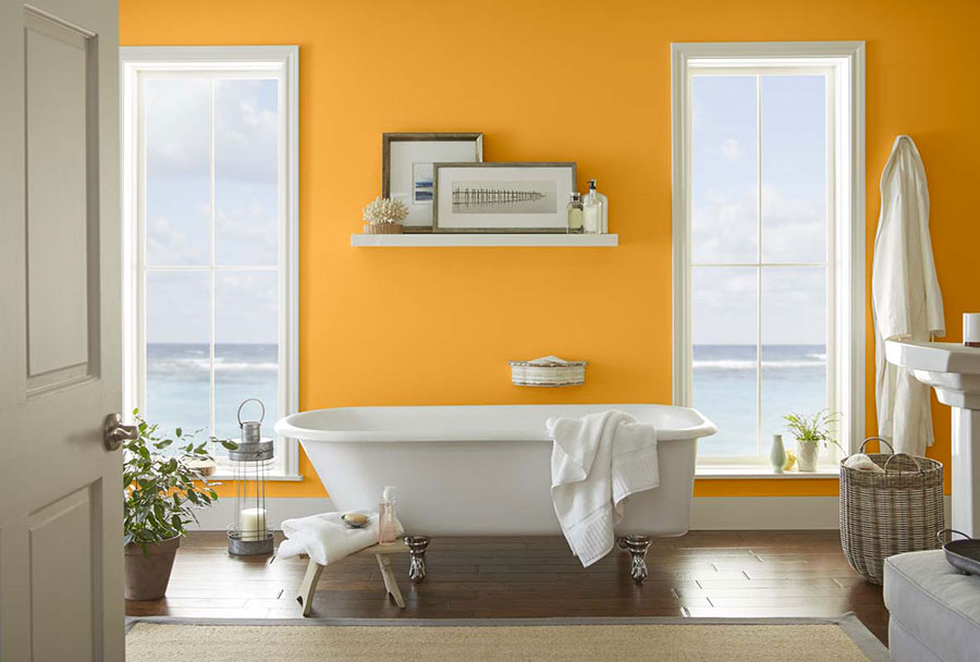 Bagno con pareti arancione n.03
