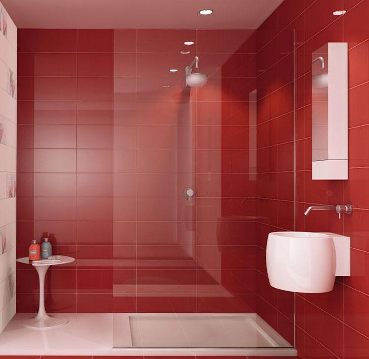 Bagno con pareti rosse n.02