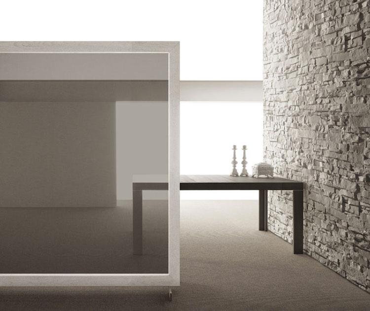 Tavolo consolle allungabile di design di Bauline modello Assolo aperto