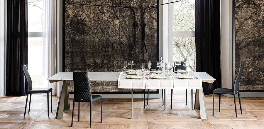 Tavolo consolle allungabile di design di Cattelan Italia modello Convivium aperto