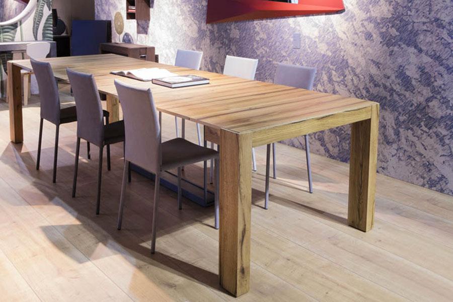 Tavolo consolle allungabile di design di Ozzio Italia modello A3 aperto