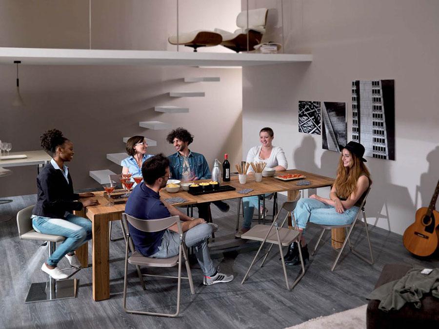 Tavolo consolle allungabile di design di Ozzio Italia modello A4 aperto