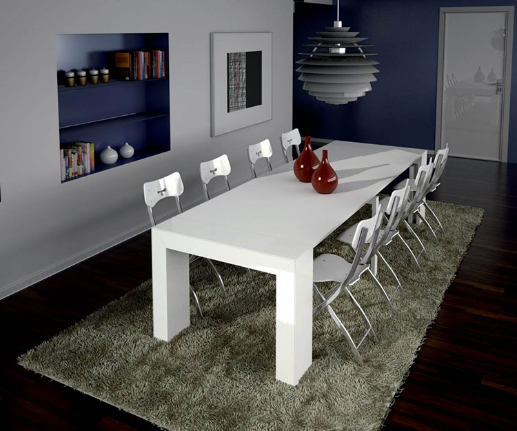 Tavolo consolle allungabile di design di Ozzio Italia modello Glass aperto