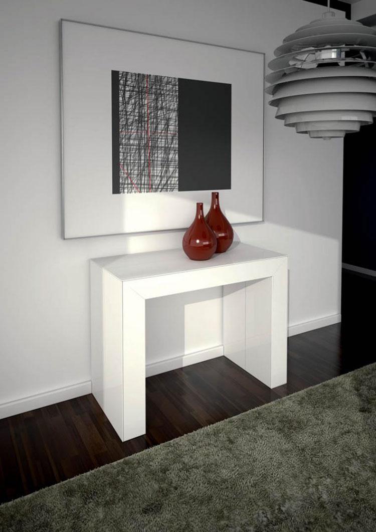 Tavolo consolle allungabile di design di Ozzio Italia modello Glass chiuso